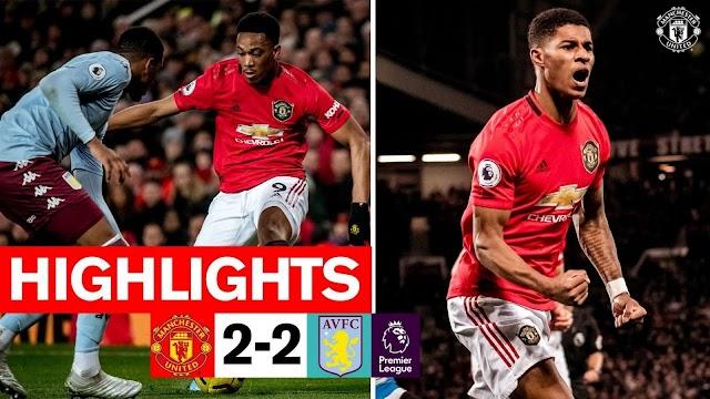 Manchester United 2 - 2 Aston Villa premier league highlight