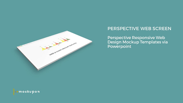 Powerpoint Web UI Screen Mockup Templates with chart elements