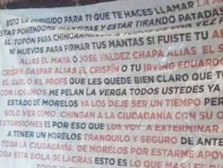 """""""Te haces llamar """"La Mera Verga"""", sálganle al topon para chingarmelos"""", """"El Carrete"""" vuelve amenazar a la contra en Morelos"""