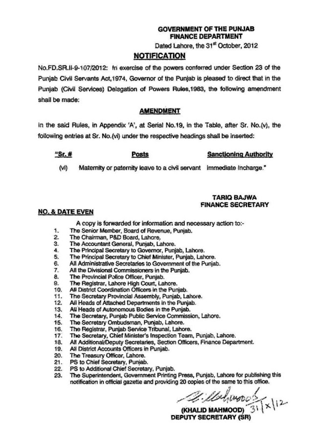 NOTIFICATION REGARDING SANCTIONING AUTHORITY OF MATERNITY OR PATERNITY LEAVE