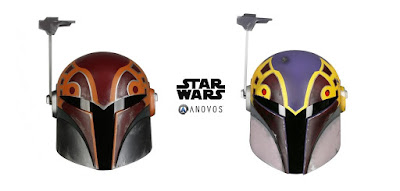 Star Wars Rebels Sabine Wren Season 2 and Season 4 Helmet Prop Replicas by Anovos