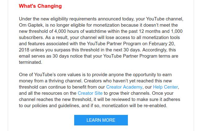 Email dari YouTube berisi syarat baru pemasangan iklan