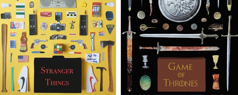 Objetos en miniatura de películas y series plasmados en un cartel