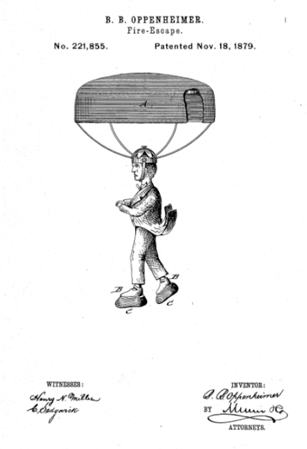 The patent with the parachute hats and rubber shoes.