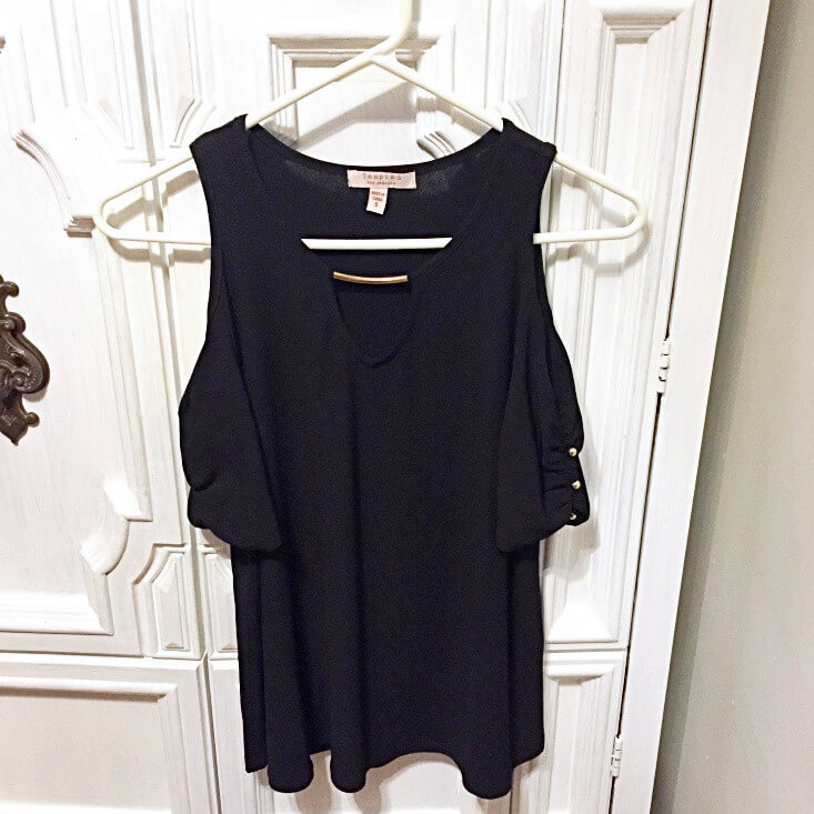 Tempted Los Angeles black cold shoulder blouse