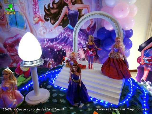 Decoração de festa tema Barbie Pop Star - Mesa luxo