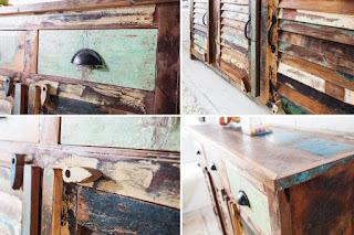 Komoda z recyklovaného dřeva rybářských lodí Reaction.