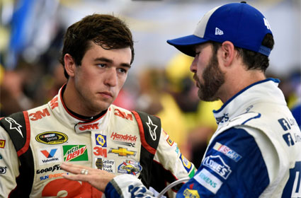Chase Elliott listens to Jimmie Johnson in Sonoma. #nascar