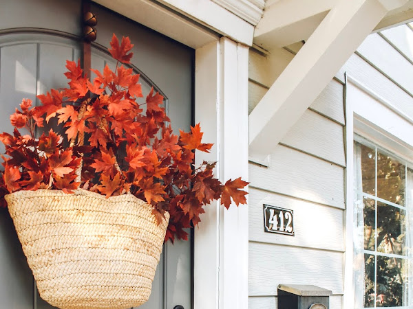 Bag Full of Fall Leaves Hanging on our Front Door