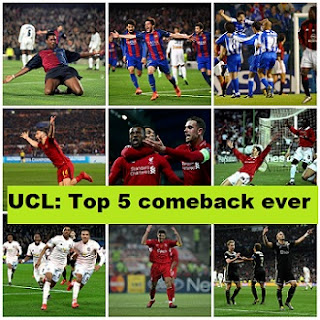 Top 5 greatest UEFA Champions League comebacks of All time in football history.
