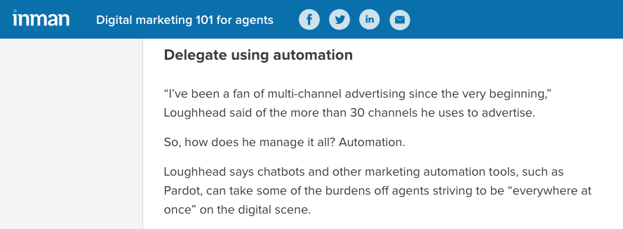 Tigh Loughhead talking to Inman News about Pardot Automation