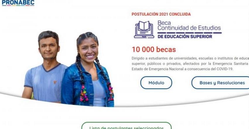RESULTADOS PRONABEC: Lista de 10 mil ganadores del concurso Beca de Continuidad de Estudios 2021