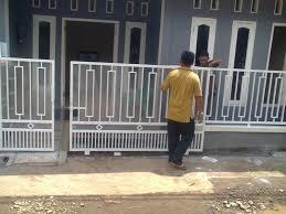 Pintu pagar minimalis 2 pintu tipe geser