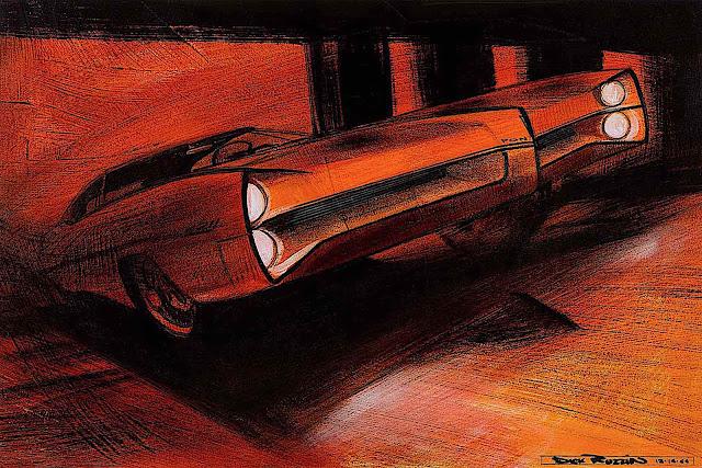 a Dick Ruzzin 1964 concept car illustration in red