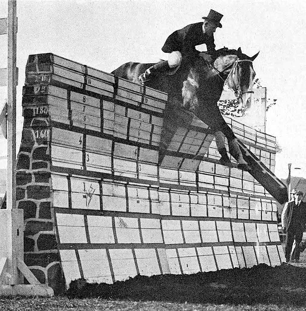 a record breaking horse jumping attempt in 1905, a photograph