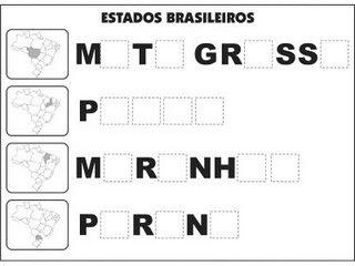 Jogos e atividades para alfabetização - Complete as palavras - Estados Brasileiros