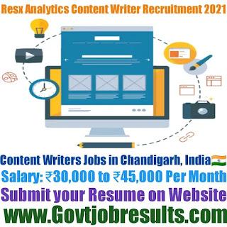 Resx Analytics LLP Content Writer Recruitment 2021-22