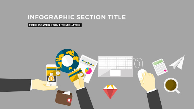 Flat Design Infographic Elements with Section Title for PowerPoint Template Slide 1