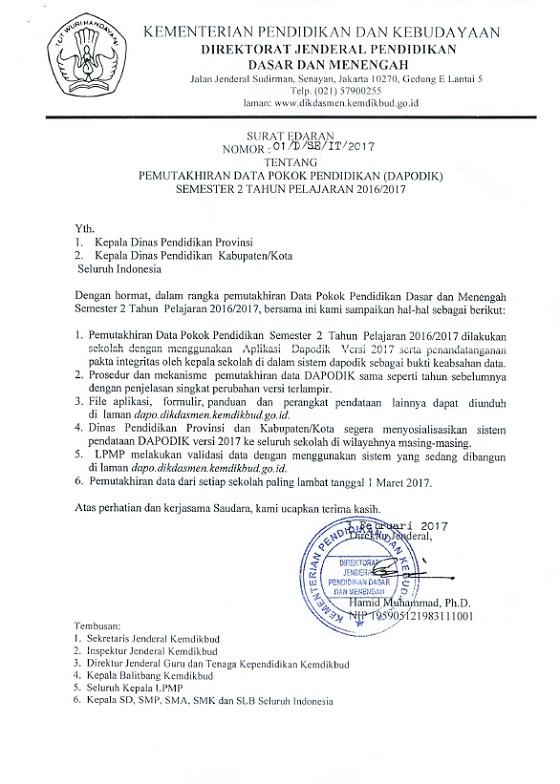 Surat Edaran Dirjen Dikdasmen Pemutakhiran Dapodik Semester 2 Tahun Pelajaran 2016/2017 dan Surat Dirjen GTK Tentang Pengelolaan Aneka Tunjangan 2017