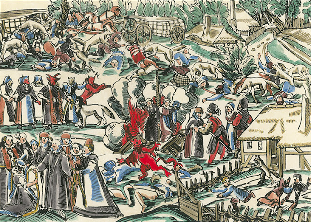 Georg Kress's woodcut of the She-Wolves of Jülich, Germany, 1591, colored later.