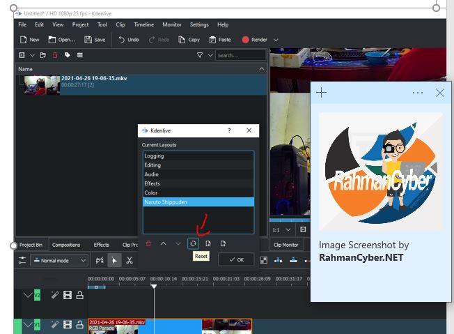 reset layout kdenlive