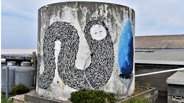 Painted Water Tank in Bicheno by Jonny Scholes   Tasmanian Street Art