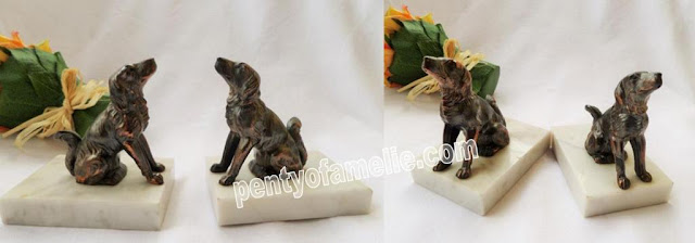 Back to school, vintage Spaniel Dogs Figural Bookends, copper and bronze finish, white marble base
