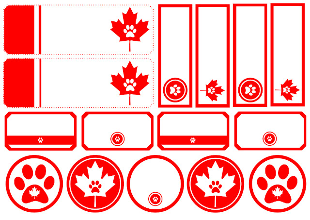 Canada Day dog treat tag and label printables with paw prints and maples leaves
