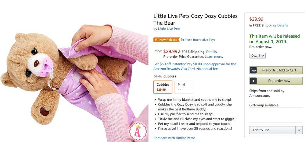 Медвежонок для сна интерактивная игрушка Little Live Pets Cozy Dozy Bear