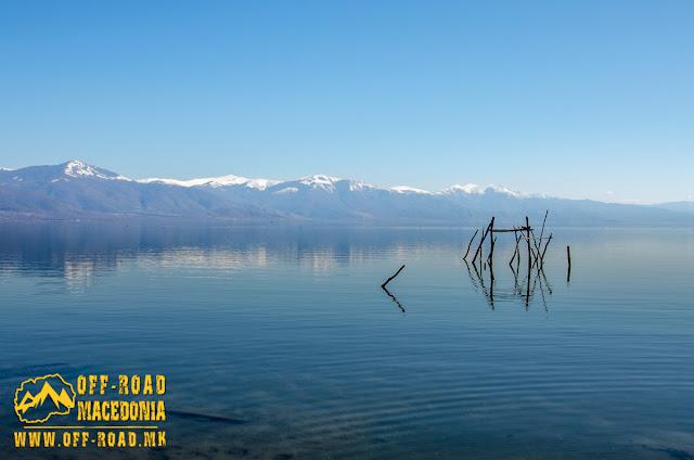 Prespa Lake - view toward Baba Mountain from Oteshevo beach