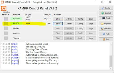start mysql xampp untuk membuat database di cmd