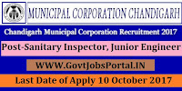 Municipal Corporation Chandigarh Recruitment 2017– 69 Sanitary Inspector, Junior Engineer