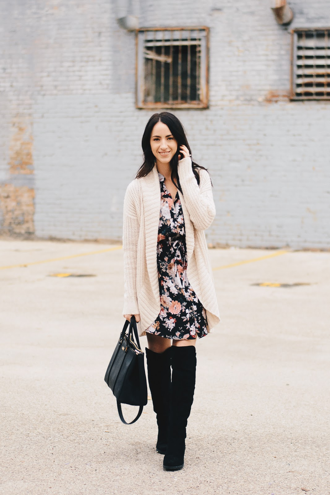 Chic Fall Style Floral Dress and Chunky Knit Cardigan