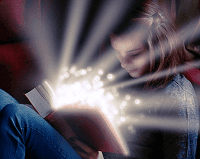 Girl Being Enlightened by Reading a Book