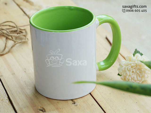 Ly sứ in logo nhập khẩu phối màu trắng xanh lá – LS012