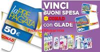 Logo Vinci subito 500 buoni spesa Conad da 50€ con Glade