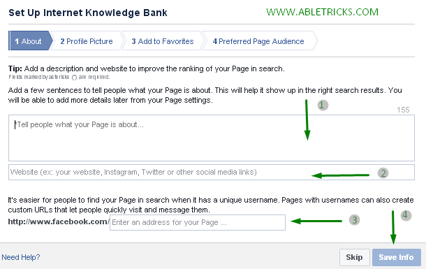 Facebook page form