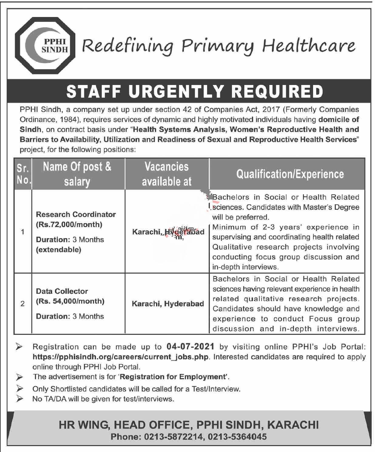 PPHI People's Primary Healthcare Initiative Karachi Sindh Jobs 2021