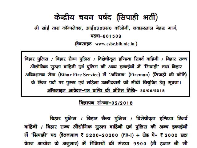 Bihar Police Constable Recruitment 2018 Apply Online for 11865 Vacancies