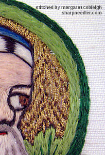 Close-up of underside couching in gold metallic thread from previous Opus Anglicanum project