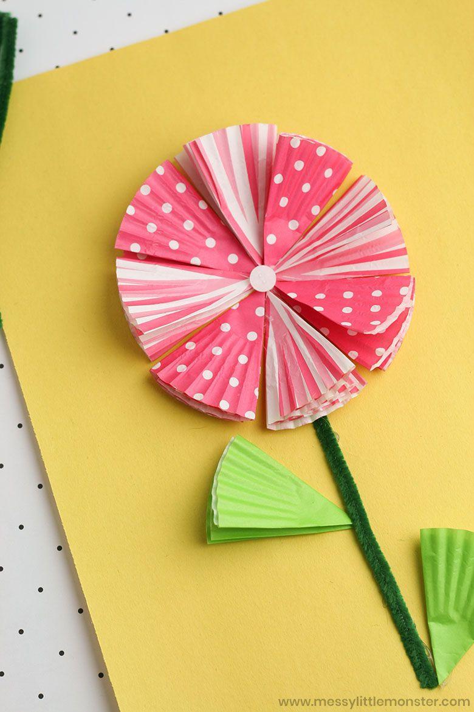 Spring crafts for kids - cupcake liner flower craft