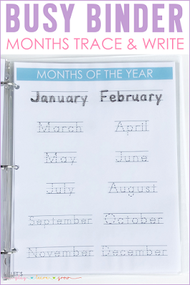 Months of the Year Tracing Page Busy Binder