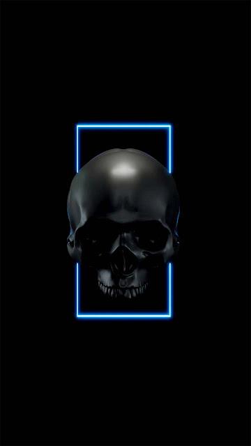 22 Crosses Skull Art, Blue Black Skull, Dark Blue SKull HD Wallpapers 5K for Android and iPhone