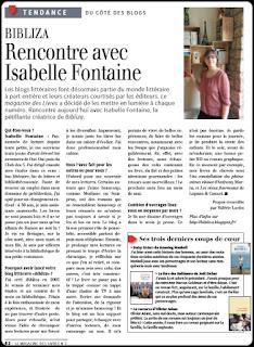 isabelle fontaine le magazine des livres mars 2016 article presse bibliza sibiril landerneau finistère bretagne assistante maternelle