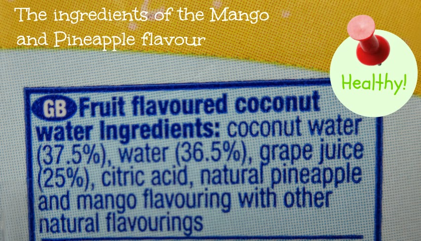 The ingredients of the Mango and Pineapple flavour Vita Coco For Kids