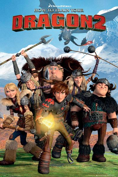 Cartel con los protagonistas de la película de animación Cómo entrenar a tu Dragón 2, poster