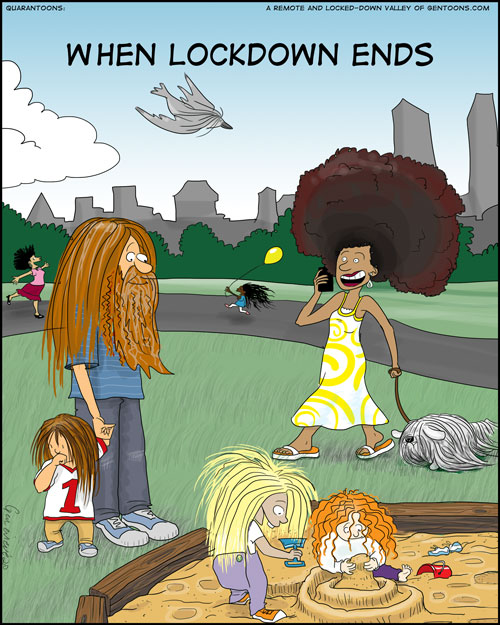big city park scene: children playing in a sandbox, a lady walking her dog, a father taking his toddler for a walk, children flying a kite, a lady dancing and singing, a bird flying overhead. all of them have hair down to their waists, or a giant fluffy afro. the man has a waistlength bear also. and the dog has long dragging hair, too. and the bird, the bird has long hair. why? birds have feathers, don't they? well, this bird has long hair, ok?