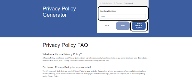 3rd Step of Privacy Policy : adding Email