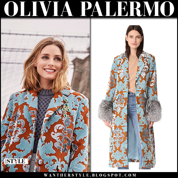 Olivia Palermo in brocade printed orange and teal coat cinq a sept winter fashion january 2018