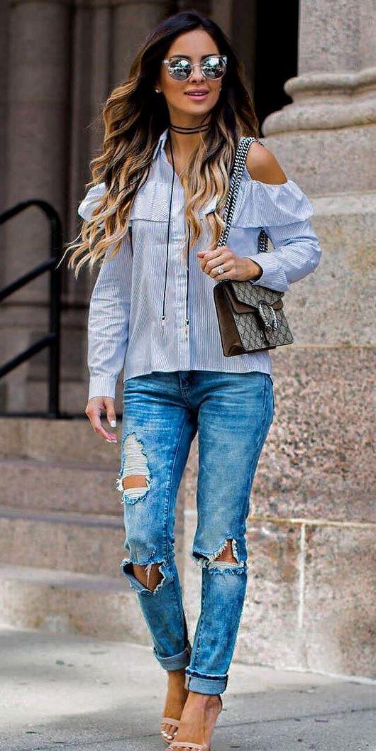 cute casual style: shirt + bag + rips + heels